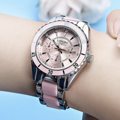 Ceramic steel band watch waterproof luminous ladies quartz watch