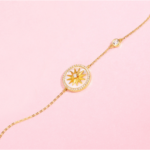 s925 sterling silver sun compass octagonal shell bracelet
