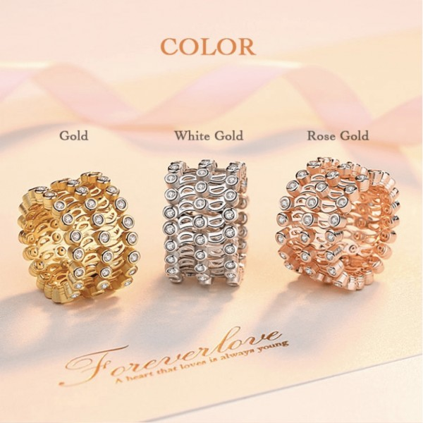 Fashion Three-row zircon telescopic ring..