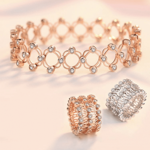 Fashion Three-row zircon telescopic ring bracelet 2-in-1