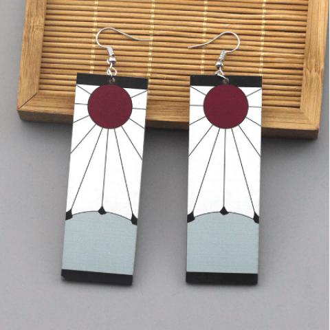 Anime Acrylic Earrings Demon Slayer Kimetsu no Yaiba TRENDY Cosplay Drop Earrings