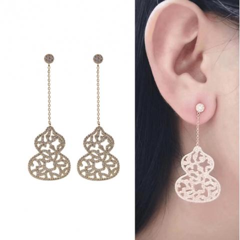 Calabash Silver Needle Lace Hollow Earrings Zircon Long Earrings