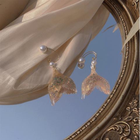 Mermaid legendary fashion Symphony earrings two-color combination