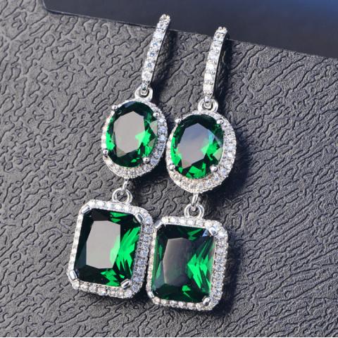 Super Sparkling Square Diamond Birthstone Earrings