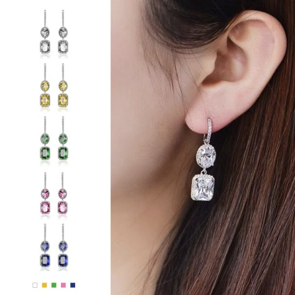 Super Sparkling Square Diamond Birthstone Earrings
