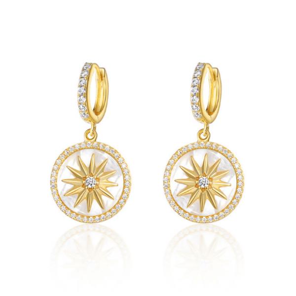 S925 octagon zircon shell earrings in sterling silver