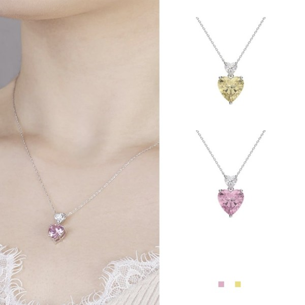 Lovely Crystal Double Heart Necklace OOT..