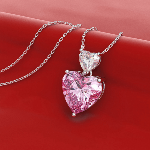 Lovely Crystal Double Heart Necklace OOTD