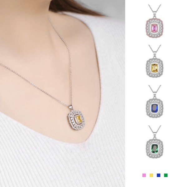 4-color noble birthstone  crystal necklace