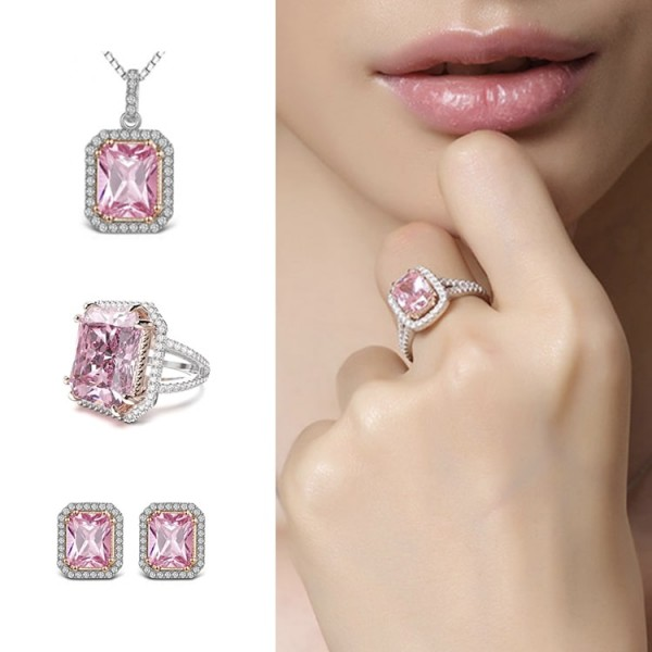 Large Artificial Square Pink Gem Jewelry..