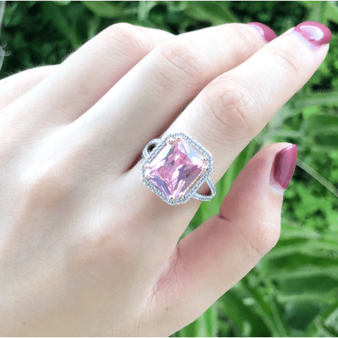 Large Artificial Square Pink Gem Jewelry