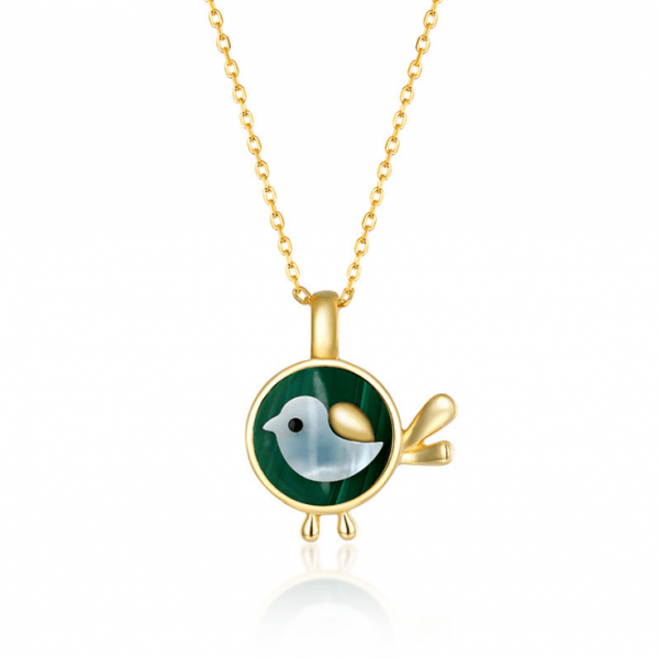 S925 Sterling Silver Love Bird Malachite Necklace