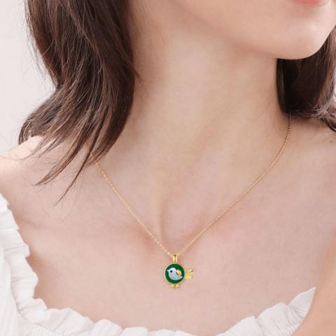 S925 Sterling Silver Love Bird Malachite Necklace