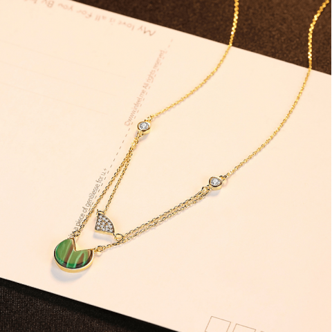 Hot Sale s925 Sterling Silver Malachite Lotus Leaf Necklace