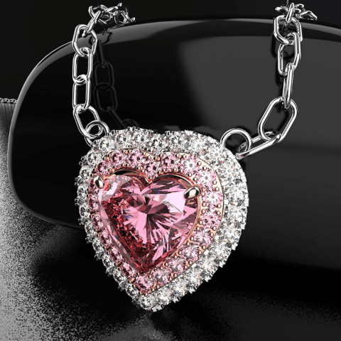 Crystal pink heart Austrian crystal necklace