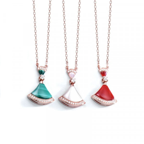 Influencer recommended fashion zircon fan-shaped skirt necklace