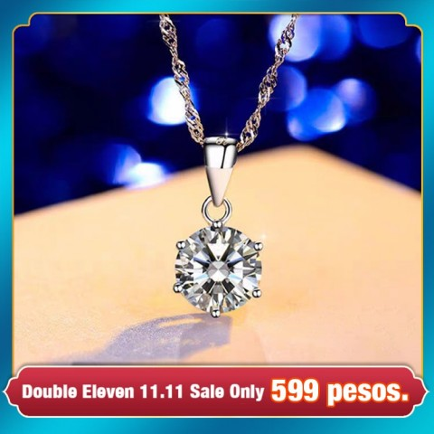 Classic Simple Style S925 Sterling Silver Diamond Necklace(including certificate)