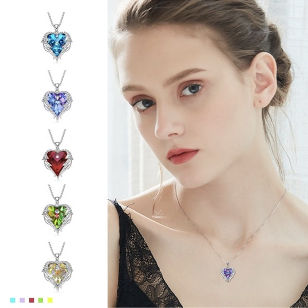 Angel Wings Lucky Birthstone Crystal Necklace