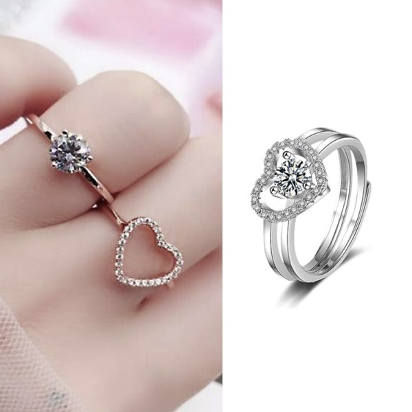 S925 Sterling Silver 2in1 Heart Ring