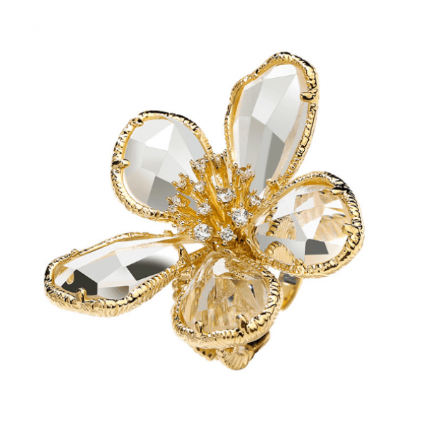 Sweet flower adjustable crystal ring