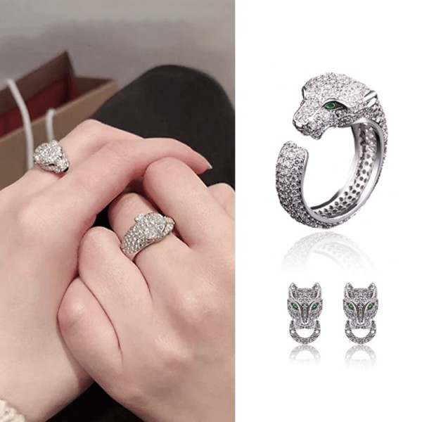 Hot Sale Powerful Adjustable Zircon Leopard Ring Leopard Stud Earrings