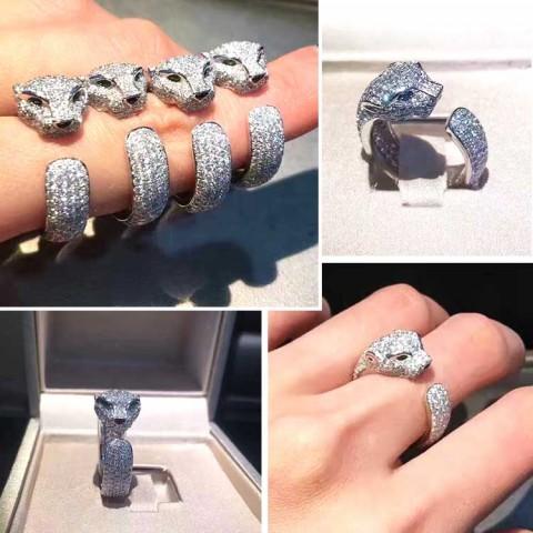 Hot Sale Powerful Adjustable Zircon Leopard Ring Leopard Stud Earrings