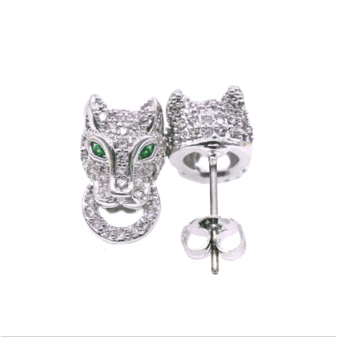 Powerful  Adjustable Zircon Leopard Ring Leopard Stud Earrings