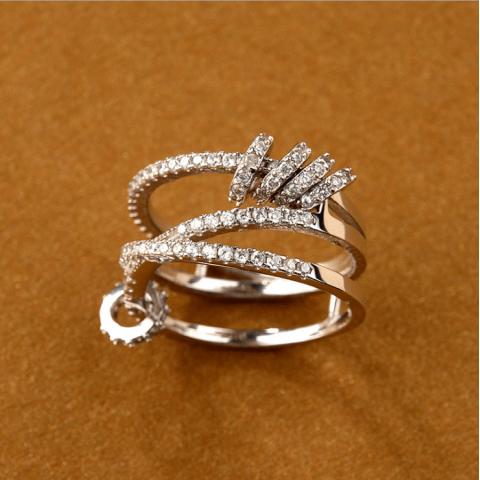 Zircon shiny good luck multi-layer ring