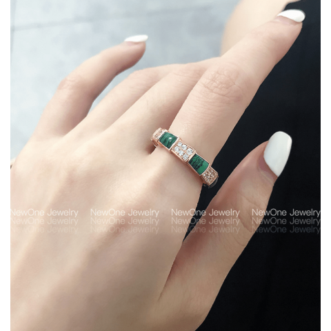 ins  influencer recommends malachite green ring titanium steel plated 18k gold snake bone ring