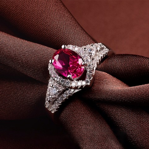 925 Sterling Silver Red Corundum Ring