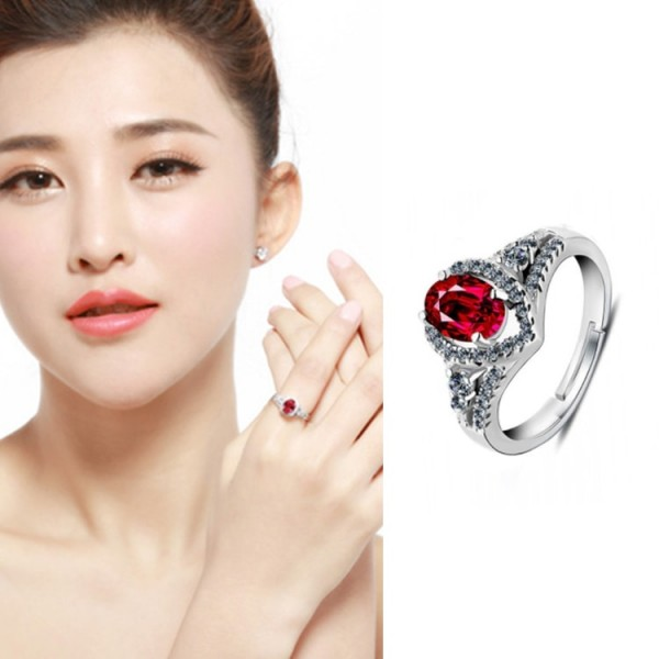 925 Sterling Silver Red Corundum Ring..