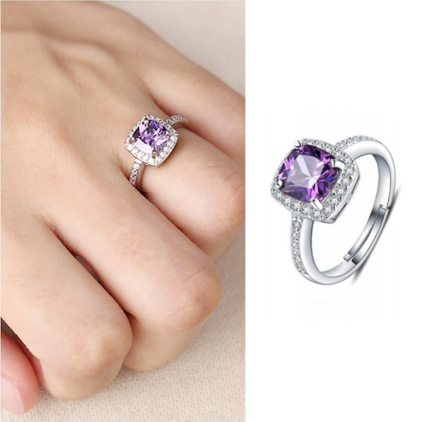 925 Sterling Silver Amethyst ring..