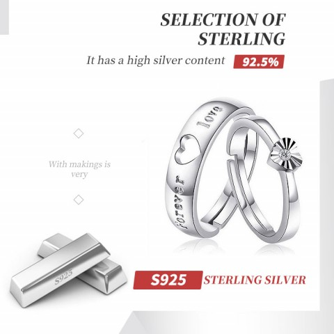 Couples sterling silver diamond adjustable pair ring