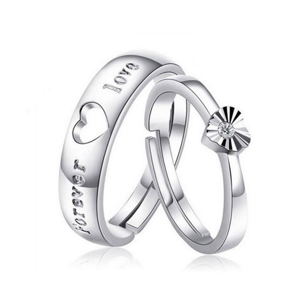 Couples sterling silver diamond adjustab..