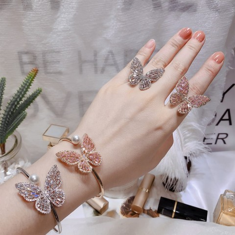 ins influencers recommend styles zircon butterfly bracelet butterfly ring