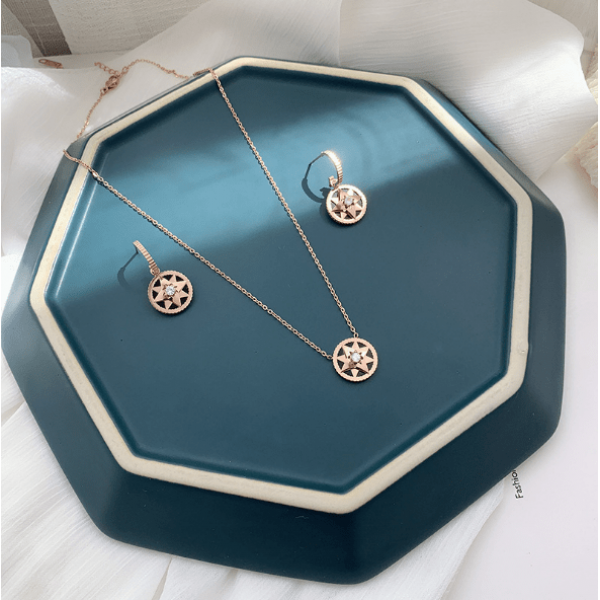 Earrings necklace combination series temperament simple geometric octagon earrings titanium steel necklace