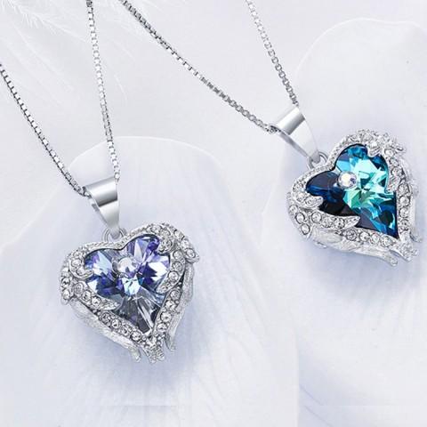 Angel Wings Birthstone Necklace Earrings Jewelry Set Box