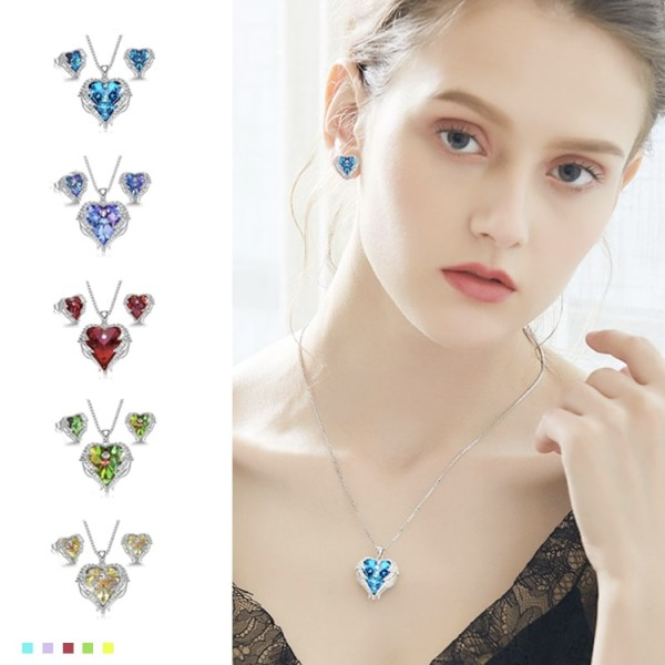 Angel Wings Birthstone Necklace Earrings Jewelry Set Box