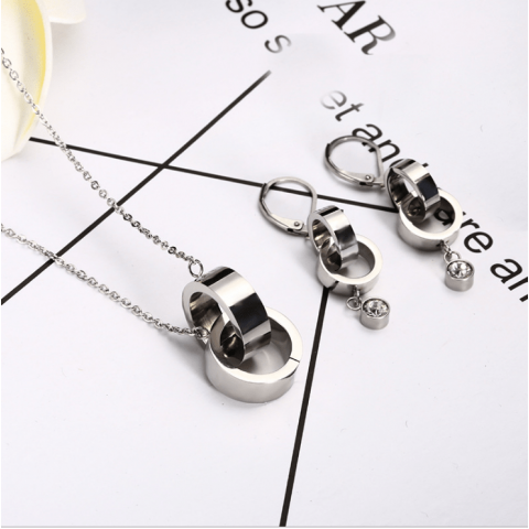 Double ring necklace earring jewelry set