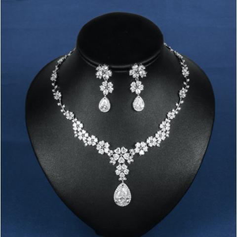Sparkling Flower Zircon Bridal Jewellery Set Wedding Dinner Accessories