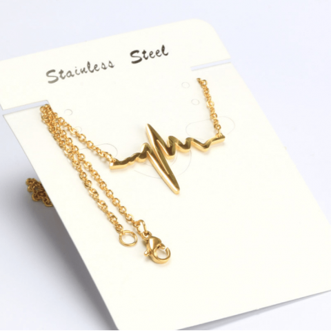 For Your Heartbeat Earrings Necklace Titanium Steel Jewellery Set
