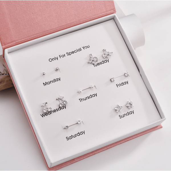 One-week stud gift box elegant zircon creative style