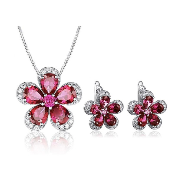 Red crystal flower set earrings and necklace are inlaid with rhinestones