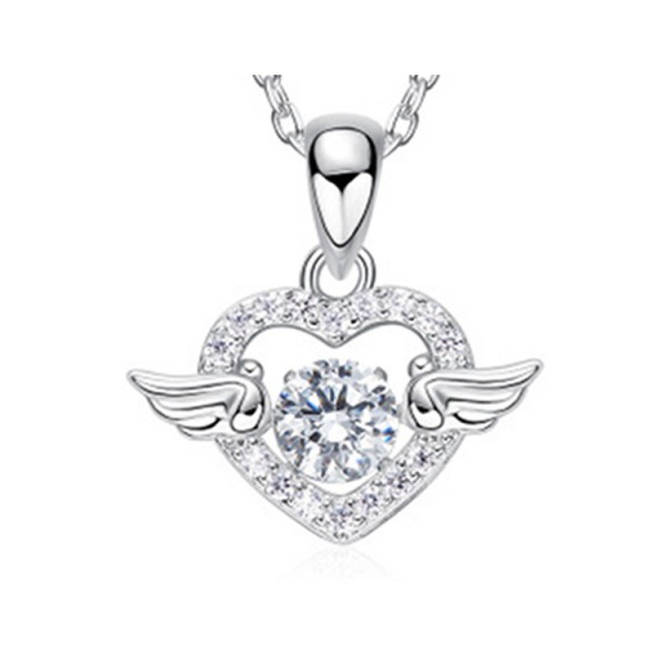 s925 sterling silver angel heart necklac..