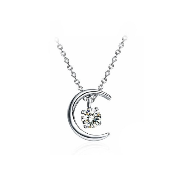 925 Sterling Silver Moon Star Necklace..