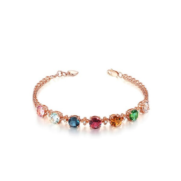 Rainbow Gemstone Plated 18k Rose Gold Bracelet