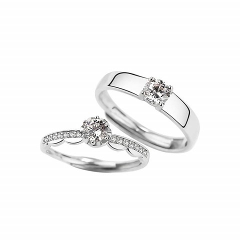 Eternal Love 925 Sterling Silver Diamond Couple Ring