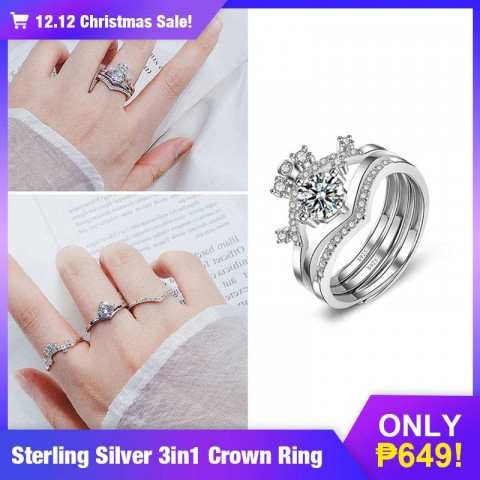 sterling silver 3in1 crown  ring