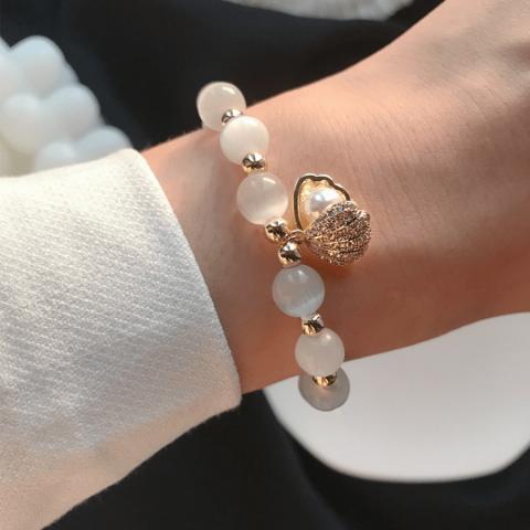 Opal shell shape pendant bracelet