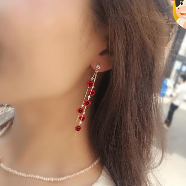 Korea new s925 silver needle delicate red roses tassel earrings